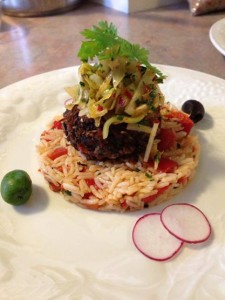 Black Bean Cake with Apple Slaw
